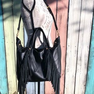 Ralph Lauren Black Fringe Leather HandBag